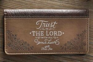 Checkbook Cover, Trust in The Lord With All Your Heart  Prov. 3:5,6 Faux Leather