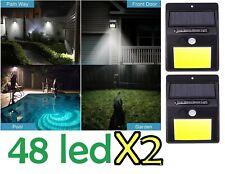 2x Lampada luce faretto esterno energia faro solare 48 LED sensore movimento