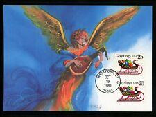 US FDC #2428 2429 Christmas Angel Sleigh 1985 Fleetwood Cachet Maximum Card