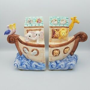 """Noah's Ark Bookends Set of 2 Hand Painted Ceramic Nursery Child Animals 12"""" x 7"""""""