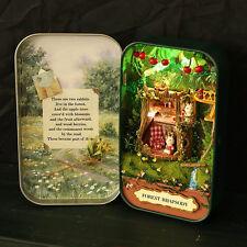 DIY Tin Box Miniature 3D Doll House Kit Theatre Series Handcraft Green Forest