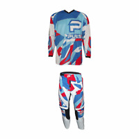 PULSE STORM KIDS NEON RED & BLUE MOTOCROSS MX ENDURO BMX MOUNTAIN BIKE KIT