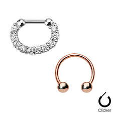 Ip Horseshoe Surgical Steel Cz Gems Pair of Septum Ring 16ga Combo with