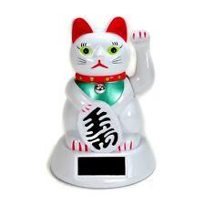 SOLAR POWER BECKONING CAT White Wealth Lucky Waving Kitty Maneki Neko Fortune