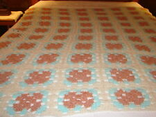 Granny Square Handmade Handcrafted Crochet AFGHAN Throw Blanket ~ BLUE BROWN