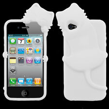 For iPhone 4 4S Rubber SILICONE Skin Soft Gel Case Phone Cover White Peeking Cat
