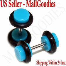 2043 Turquoise Blue Fake Cheater Illusion Faux Ear Plugs 16G Bar 4G = 5mm - 2pcs