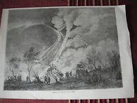 4 MAGGIO 1855 INCISIONE ERUZIONE DEL VESUVIO NAPOLI REGNO DELLE DUE SICILIE