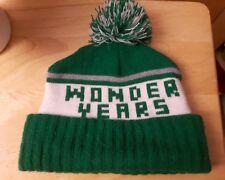 VTG WONDER YEARS winter hat Pom Pom green white toque made USA