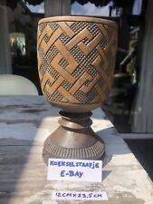 Mid Century Wood Vase Palm Cup Belgium Congo Zaïre Tribal Art Kuba Africa Ilebo