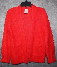 Cat & Jack Red Sequin Sparkle Sweater Christmas Holiday Cardigan Sweater XS 4-5