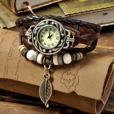 Weave Wrap Around Leather Bracelet Lady Wrist Watch Quartz Watch Coffee HY