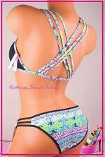 NWT Victoria's Secret Swim Bikini Set Padded Bling Jewel Strappy Cheeky Black M