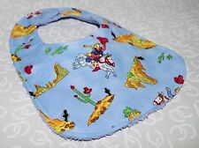 Handmade Rodeo Cowgirl Cactus Baby Bib 100% cotton Terry Cloth Backing