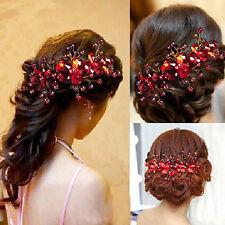 Red Wedding Bridal Headband Headpiece Party Rhinestone Bride Hair Accessories