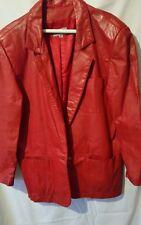 Cherry Red Leather Blazer Women's Paraphernalia Size M Lined 1 button Jacket