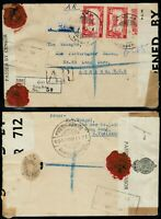 1940 Siam Reg Cover Tung Song to London via Bangkok A.R. Double Censored WWII