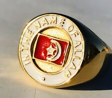 IN THE NAME OF ALLAH RING Silver with Gold Top #10