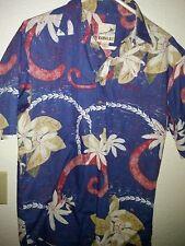 "Kahala ™ Reverse, Print Tropical Flowers P/o Shirt, 100% Cotton M  22"" P2P EUC"