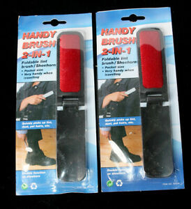 2 x Handy Brush 2-IN-1 Foldable Lint Brush & Shoe horn Travel Accessory