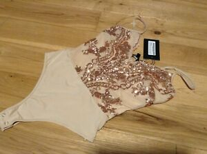 NaNa Ladies Glitter Sequence Embellished Nude Special Occasion Underwear Size 8