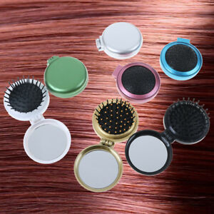 Folding massage comb hair brush with mirror compact travel pocket comb FO ddBLC