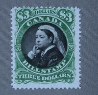 *Kengo* Canada revenue stamp Van Dam #FB54 Bill Stamp $3 MNG CV$75 B.O.B @206