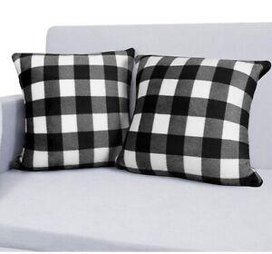 NEERYO Buffalo Check Black White Plaid Throw Pillow Covers, Set of 2, 18x18