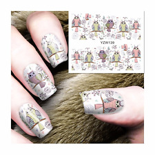 Nail Art Water Decals Stickers Transfers Pretty Pink Owls Spring Flowers YZW139
