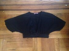 Velvet by Graham & Spencer Black Wide Sleeve Bolero Crop Cardigan S