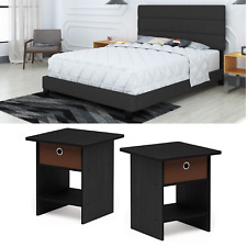 Full Size Bedroom Set Furniture Black Bed Modern Nightstand New 3 Piece