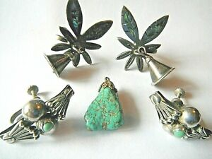 VINTAGE Silver SIGNED Lovely 2 SETS of EARRINGS&OLD Turquoise pendant!!!!!!