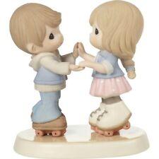 $ New Precious Moments Figurine Roller Skate Couple Porcelain Statue Lover Retro