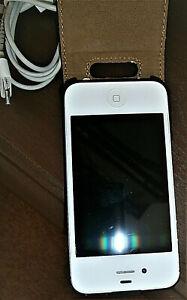 APPLE iPHONE4sHANDY-8GB/A1387(CDMA-GSM)ohne Simlock weiß in Lederhülle gebraucht