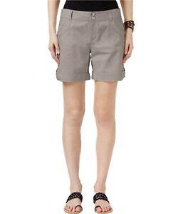 I-N-C Womens Cuffed Casual Walking Shorts, Grey, 8