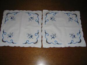 2 schöne Deckchen-Stickerei-Zwiebelmuster-Bändchen-Richelieu-Tischdecke-Neu/unb.