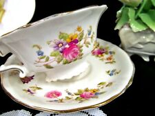 POINTONS  tea cup and saucer  England painted floral rose teacup fancy base