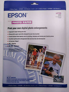 """Epson Glossy Photo Paper - 20 Sheets - Letter 8.5"""" x 11"""" - Inkjet - 194gsm"""