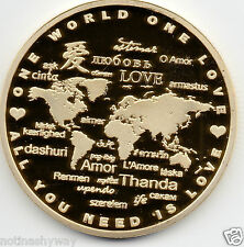 1969 Love Gold Coin Cupid Heart Roses Flowers Map of World Amor Aimer Valentines