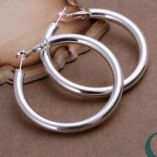 925Sterling Silver Large Round Hollow Circle Men Woman Earrings Hoop 5MM EY149
