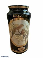 "Art Of Chokin 6"" Black Vase 24k Gold Trim Parrots Japan"