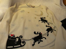 White Stag Women's White Christmas Sweater w/ Black & Silver/Sz-M/EXCELLENT