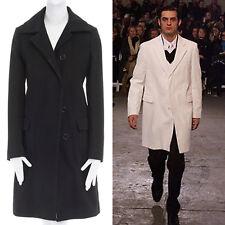 HELMUT LANG Vintage black cotton concealed button classic coat jacket IT40 S