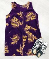 TU Corduroy Dress Sleeveless Mustard Floral Pockets Fashion Blogger Sz 20