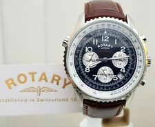 ROTARY Men's Brown Leather Watch Chronograph Chronospeed Luminous Boxed RRP £189