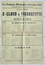 Affiche ancienne HORAIRES ET STATIONS DE TRAMWAYS Paris Trains Chemins de fer