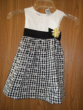 Girls Size 3T Blueberi Boulevard Black White Gingham Dress New With Tags