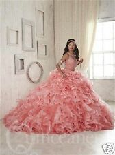 Pink Two Piece Organza Quinceanera Dress Sweet Ruffles Pageant Prom Bridal Gowns