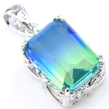 Holiday Gift Rectangle Bi Colored Tourmaline Gems Solid Silver Necklace Pendants