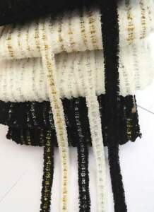 4m textured boucle knit frayed lace edge trimming black / white with metallic